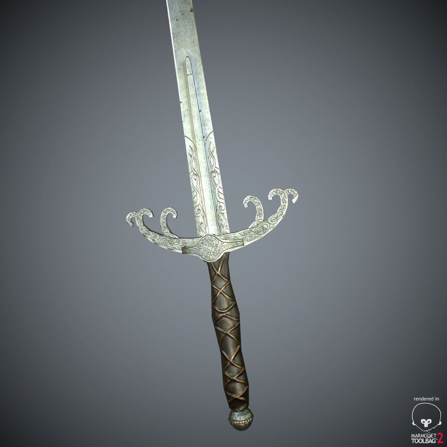 Sword Long Weapon royalty-free 3d model - Preview no. 37