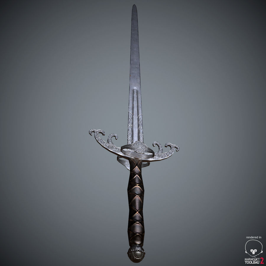 Sword Long Weapon royalty-free 3d model - Preview no. 29