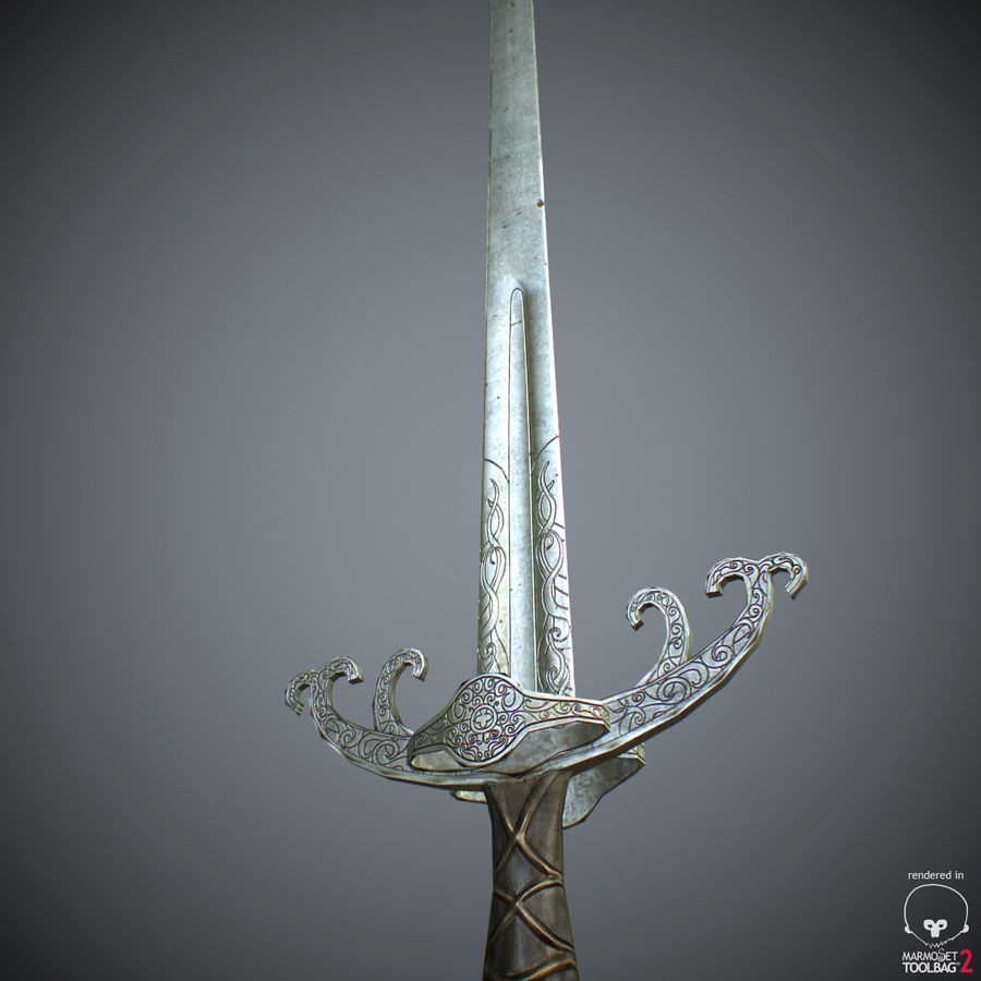 Sword Long Weapon royalty-free 3d model - Preview no. 35