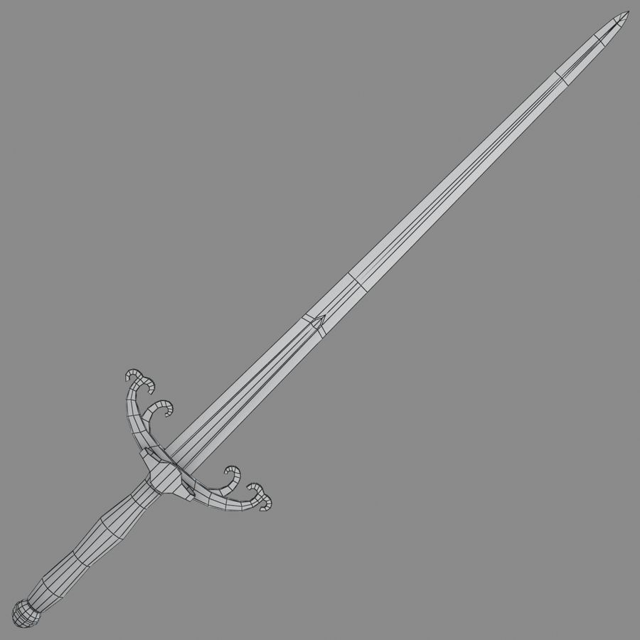 Sword Long Weapon royalty-free 3d model - Preview no. 3