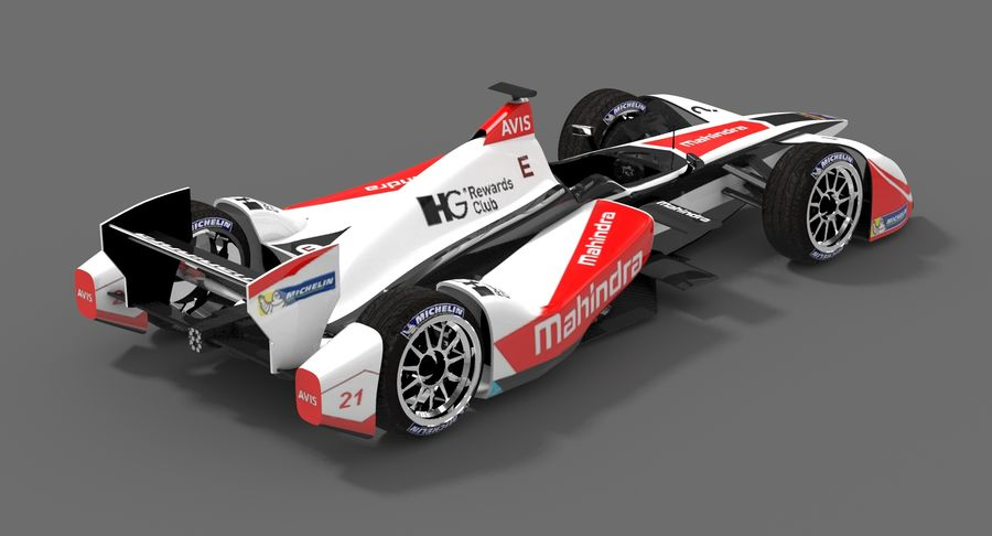 Mahindra Racing Formula E Season 2015-2016 v2 royalty-free 3d model - Preview no. 3