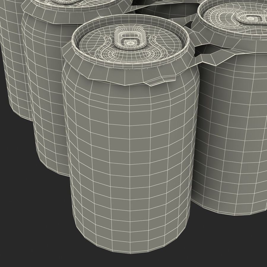 Six Pack of Cans royalty-free 3d model - Preview no. 26