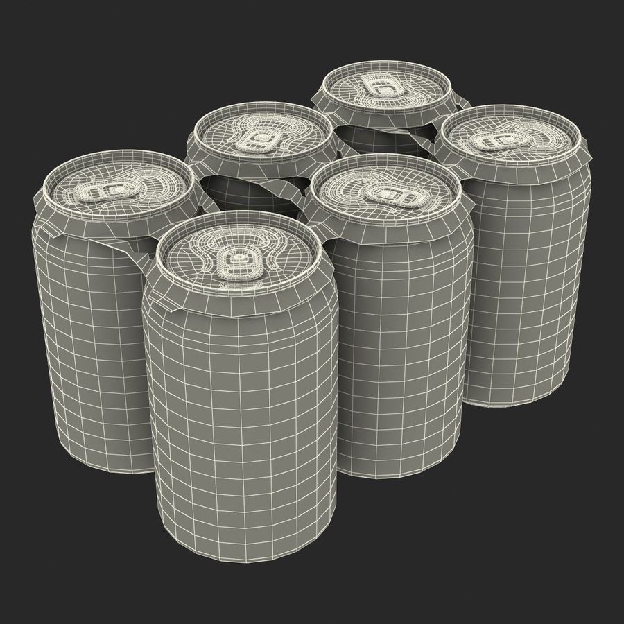 Six Pack of Cans royalty-free 3d model - Preview no. 22