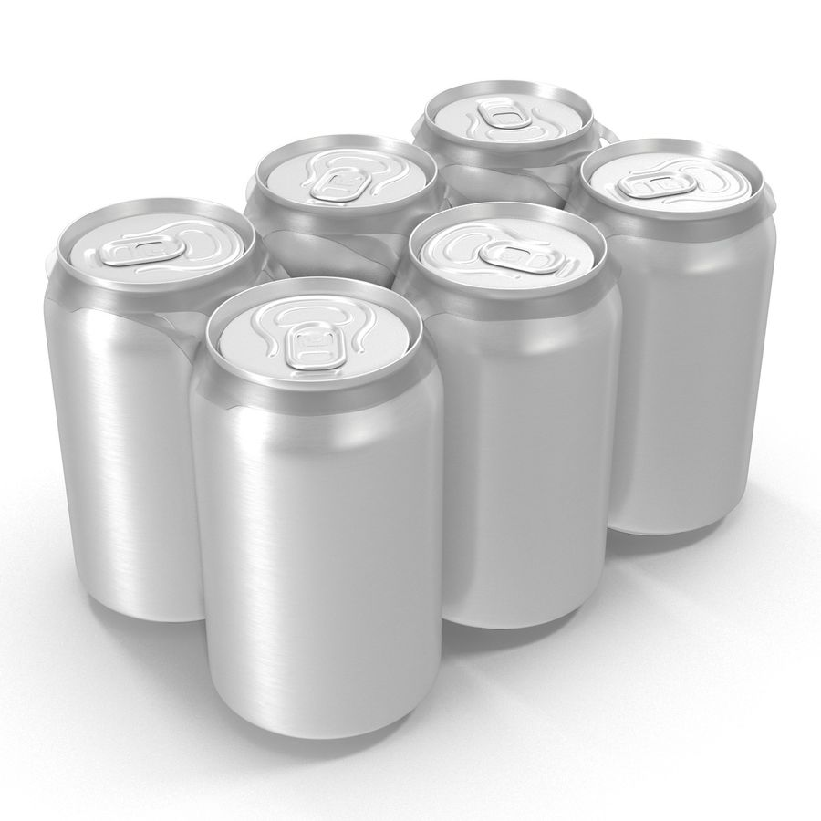 Six Pack of Cans royalty-free 3d model - Preview no. 4