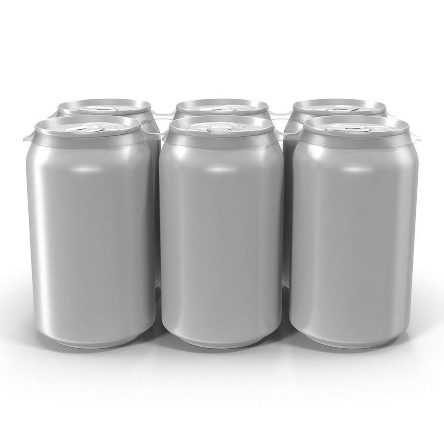 Six Pack of Cans royalty-free 3d model - Preview no. 3