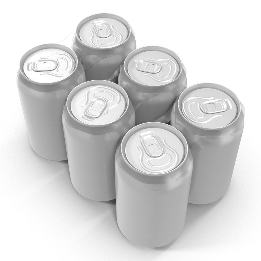 Six Pack of Cans royalty-free 3d model - Preview no. 5