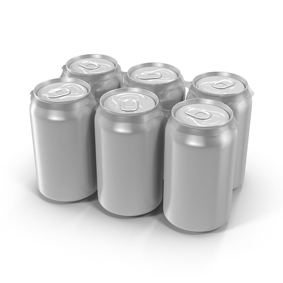 Six Pack of Cans royalty-free 3d model - Preview no. 2