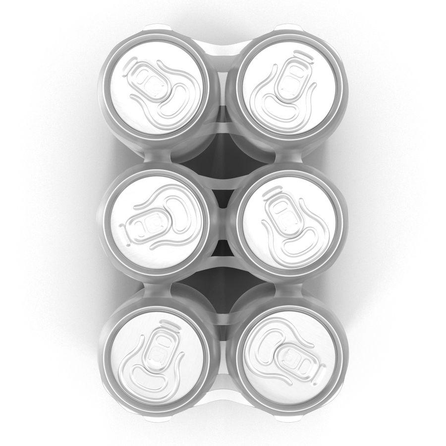 Six Pack of Cans royalty-free 3d model - Preview no. 9