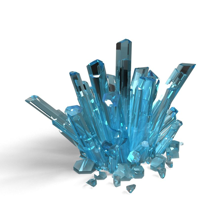 Crystals Blue royalty-free 3d model - Preview no. 3