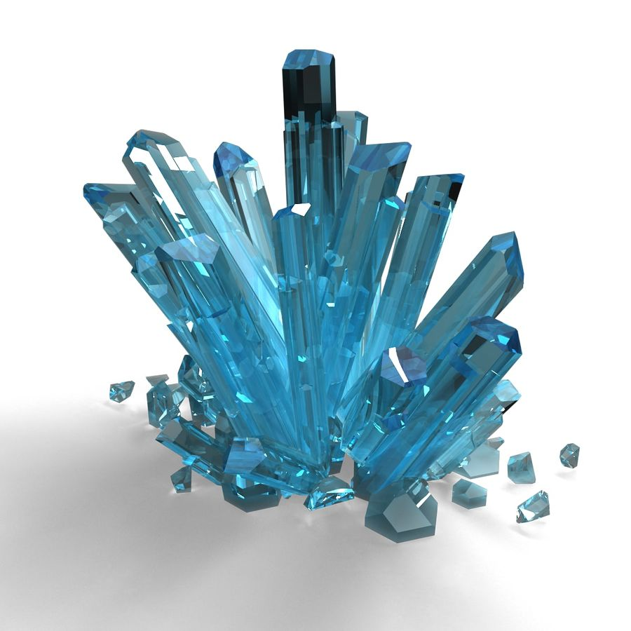 Crystals Blue royalty-free 3d model - Preview no. 4