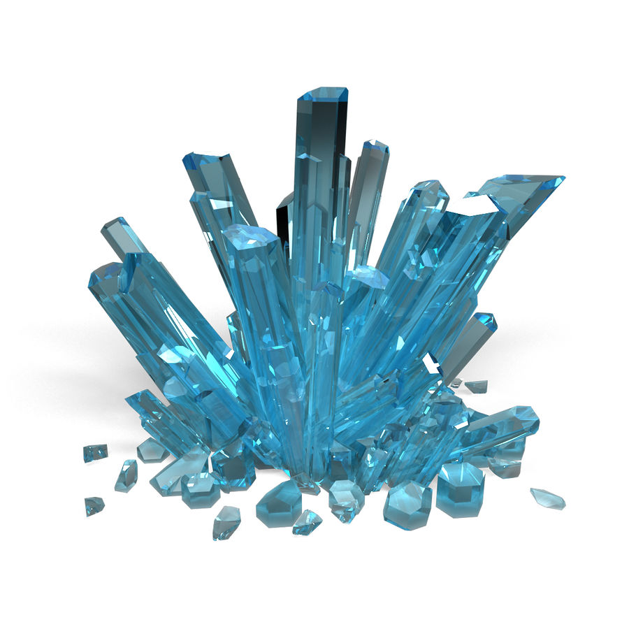 Crystals Blue royalty-free 3d model - Preview no. 2