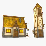 Toon House låg poly 3d model
