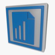 Símbolo de gráfico uno modelo 3d