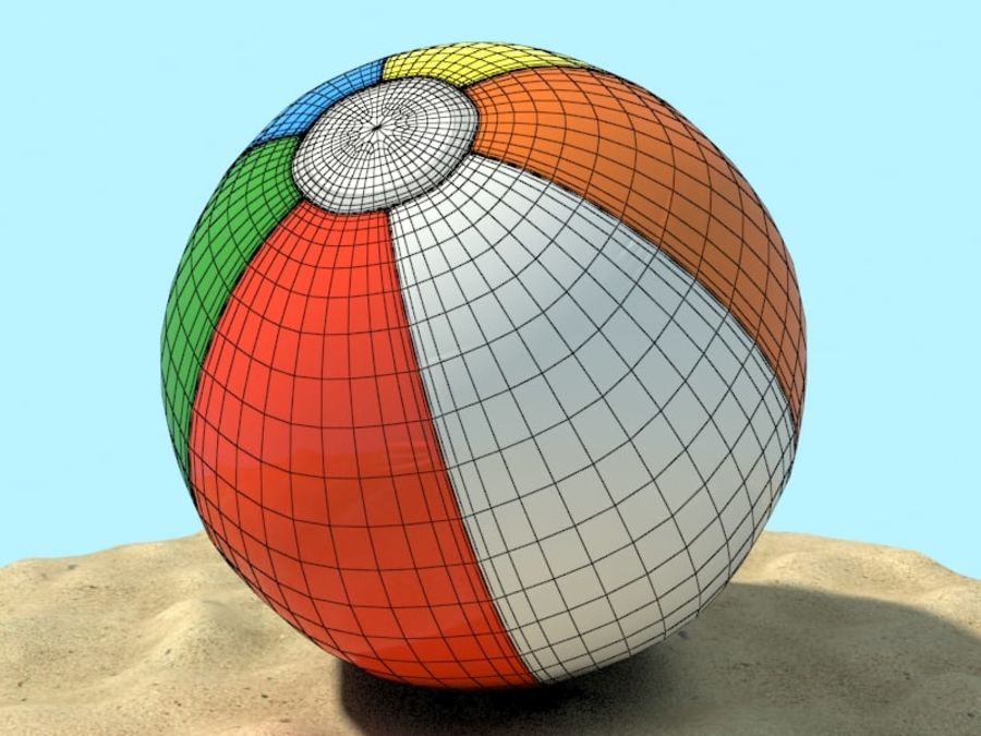 Beachball royalty-free 3d model - Preview no. 3