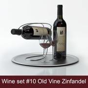 Alcoholset # 10: Old Vine Zinfandel rode wijnfles, glas, dienblad, wijnhouder \ standaard (hoogwaardige modellen klaar voor interieurweergave) 3d model