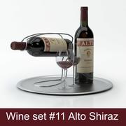 Alcoholset # 11: Alto Shiraz rode wijnfles, glas, dienblad, wijnhouder \ standaard (modellen van hoge kwaliteit klaar voor interieurweergave) 3d model