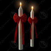 蜡烛蜡烛蝴蝶结 3d model