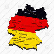 Political map of Germany 3d model