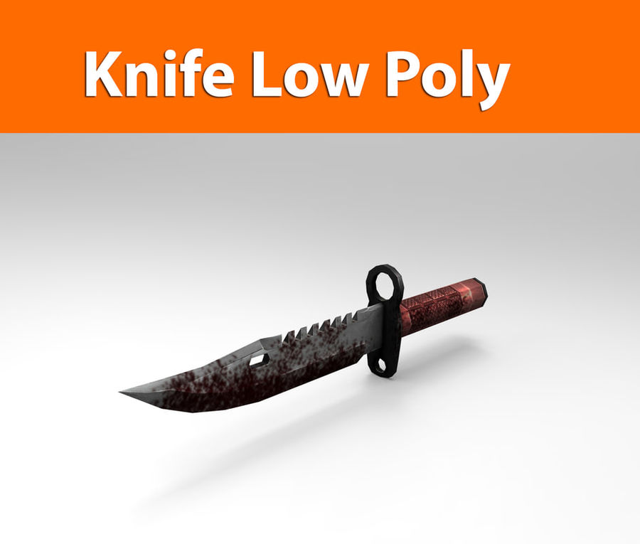 knife low poly game ready royalty-free 3d model - Preview no. 1