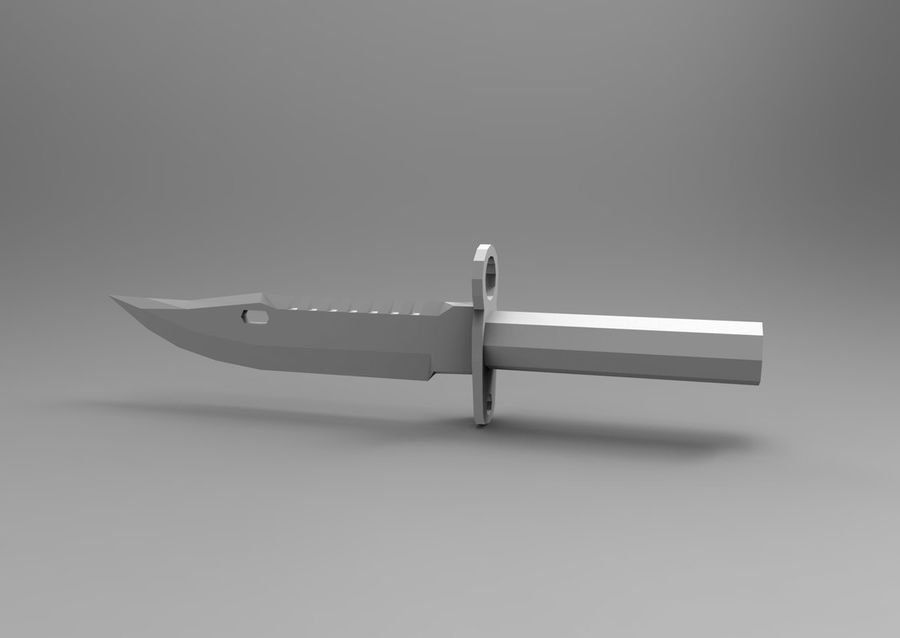 knife low poly game ready royalty-free 3d model - Preview no. 18