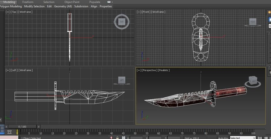 knife low poly game ready royalty-free 3d model - Preview no. 22