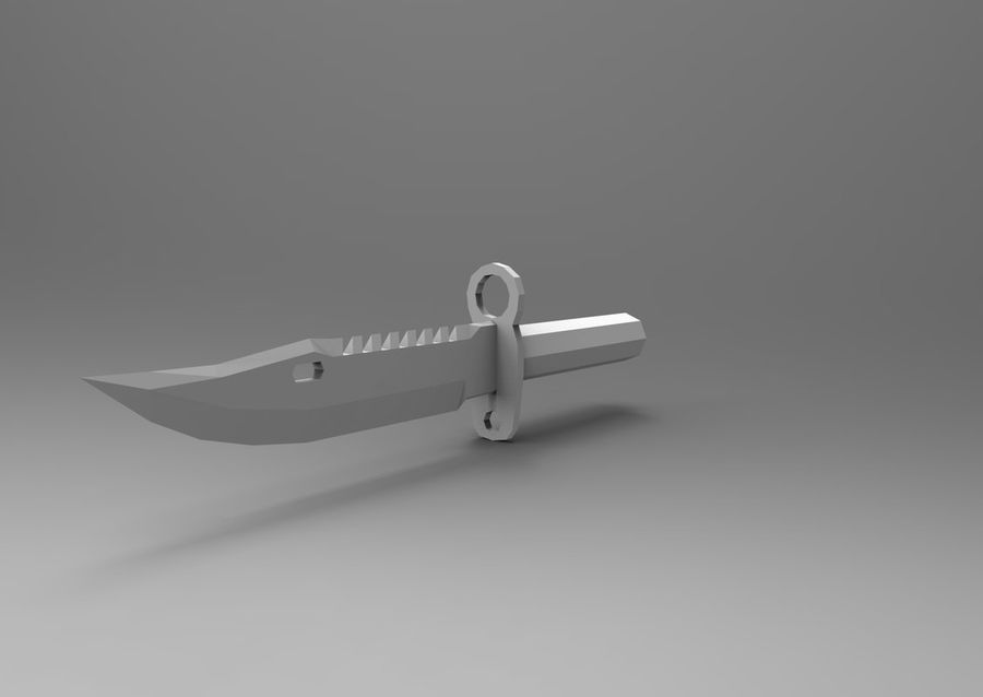 knife low poly game ready royalty-free 3d model - Preview no. 12