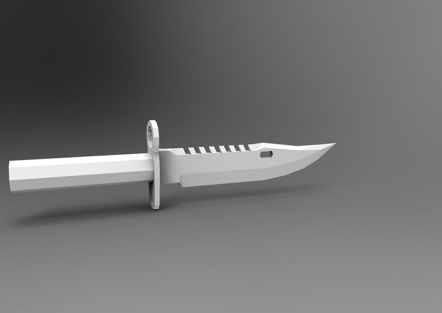 knife low poly game ready royalty-free 3d model - Preview no. 15