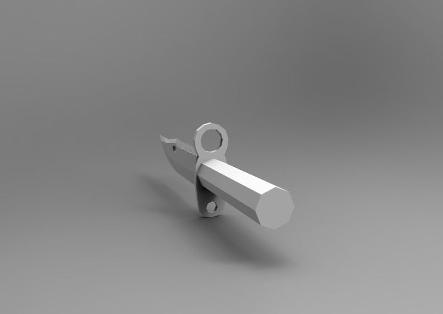 knife low poly game ready royalty-free 3d model - Preview no. 17