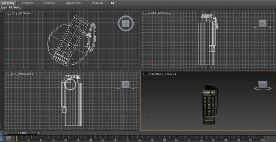 grenade basse poly jeu prêt royalty-free 3d model - Preview no. 19