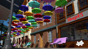 Floating Umbrellas Street 3d model