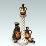 ペデスタルとギリシャの花瓶 3d model