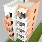 Low poly Appartments building 3d model