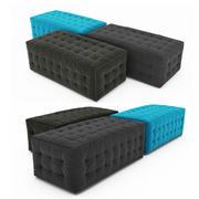 Square blue tufted pouf ottoman 2 3d model