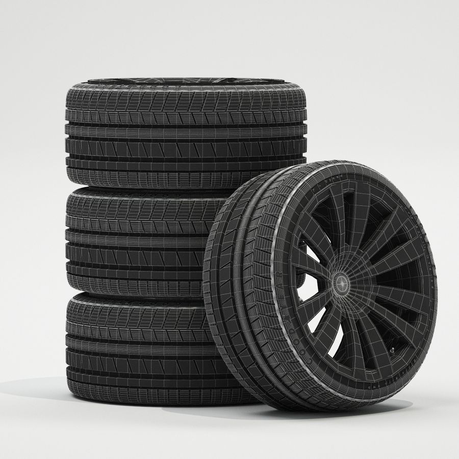 Car Wheels royalty-free 3d model - Preview no. 5