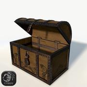 Baú de madeira baixo poli 3d model