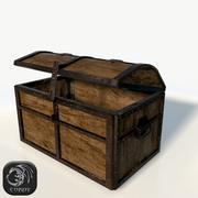 Baú antigo de madeira baixo poli 3d model