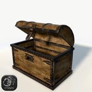 Scrigno in legno basso poli 3d model