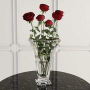 꽃병에 7 장미 3d model
