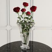 花瓶中有7朵玫瑰 3d model