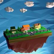 Casa lowpoly con umano 3d model
