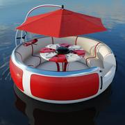 High poly model of BBQ Donut floating pleasure raft boat for recreation of pier, quay or wharf 3d model
