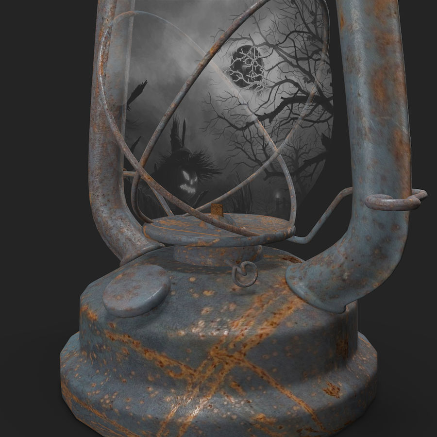 Old Lantern royalty-free 3d model - Preview no. 5