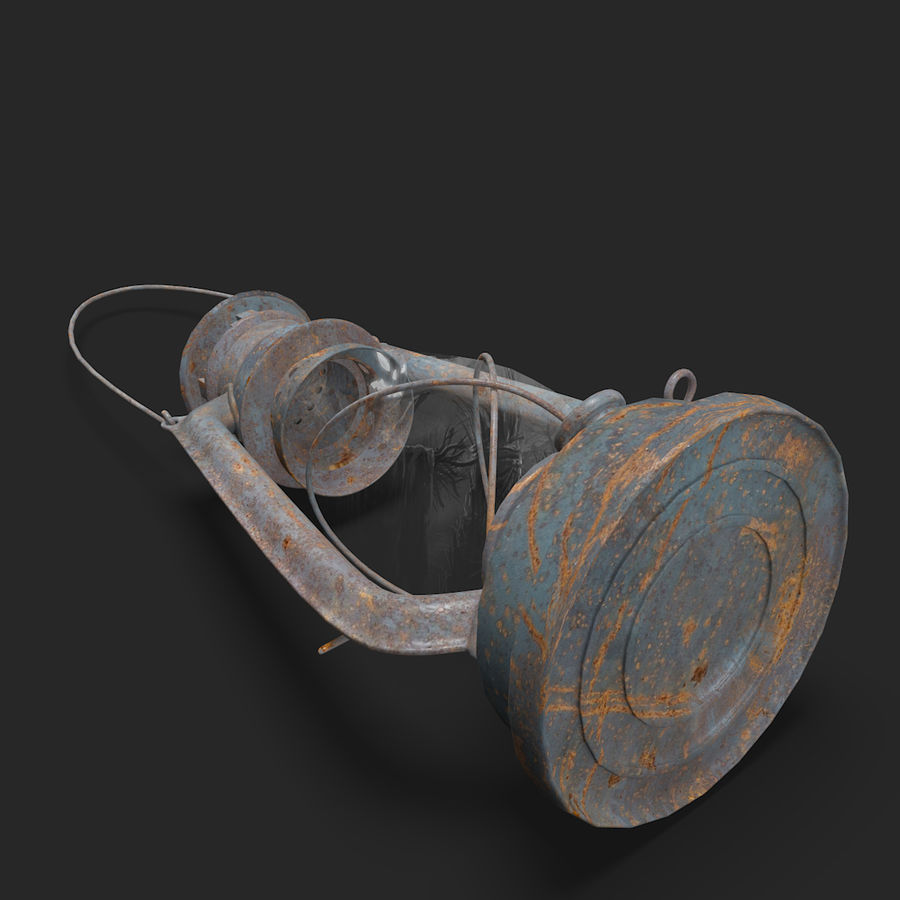 Old Lantern royalty-free 3d model - Preview no. 7