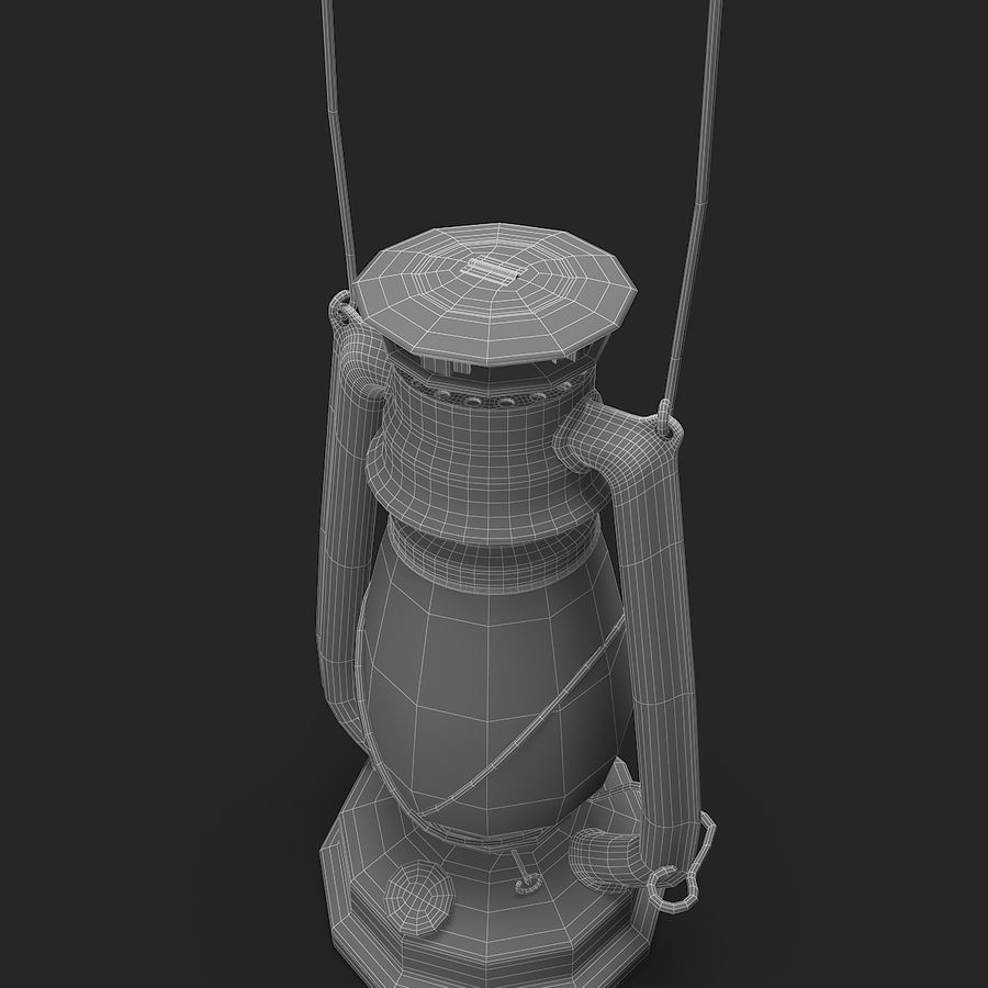 Old Lantern royalty-free 3d model - Preview no. 10