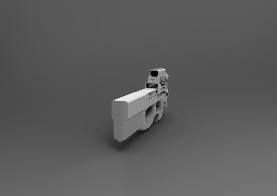 machine gun low poly royalty-free 3d model - Preview no. 21