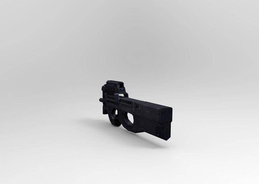 machine gun low poly royalty-free 3d model - Preview no. 4