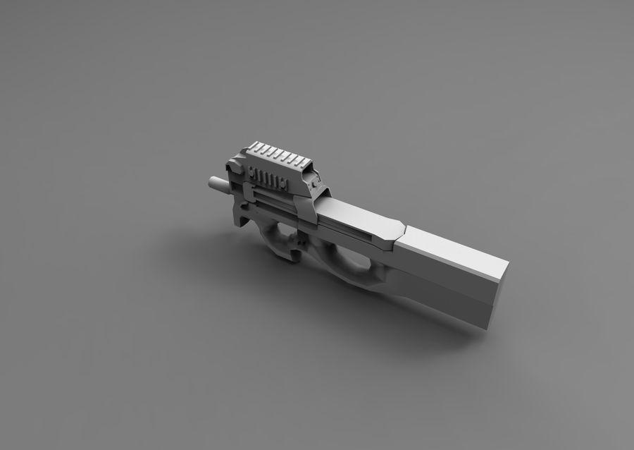 machine gun low poly royalty-free 3d model - Preview no. 22