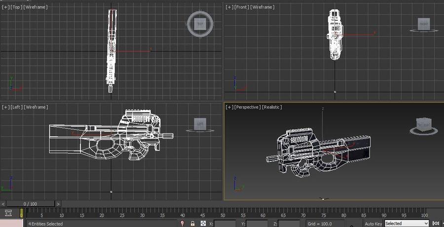 machine gun low poly royalty-free 3d model - Preview no. 25