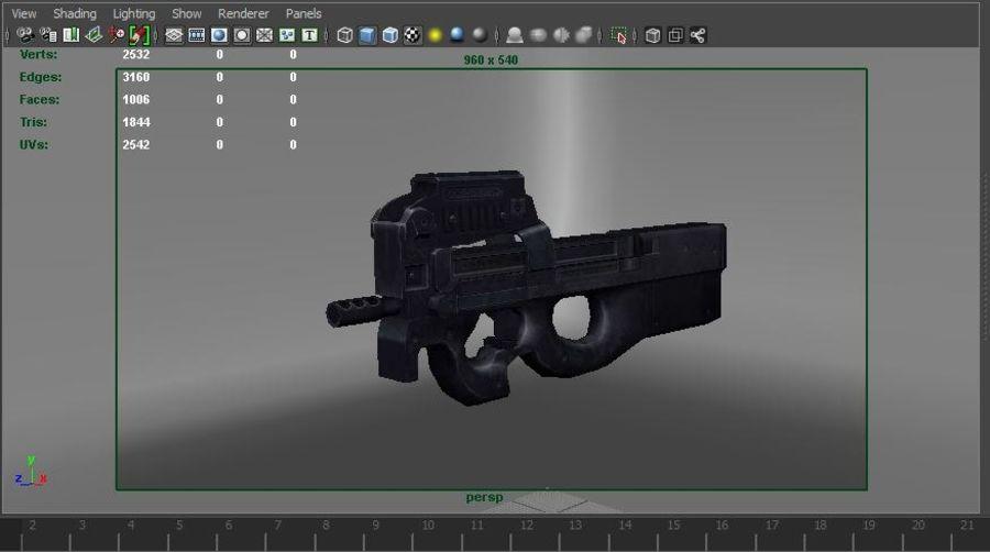 machine gun low poly royalty-free 3d model - Preview no. 24