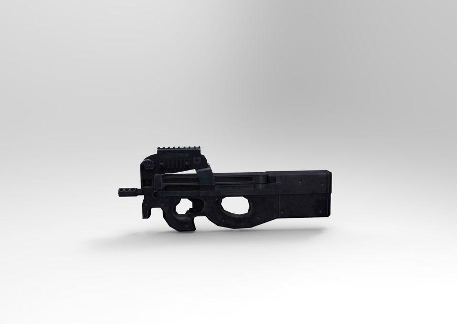 machine gun low poly royalty-free 3d model - Preview no. 2